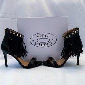 Black Fringe Aldo Heels 8.5